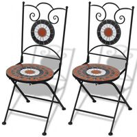 vidaXL Zložljivi bistro stoli 2 kosa keramika terakota in bele barve