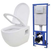 vidaXL Viseča WC školjka z vgradnim kotličkom keramika bela