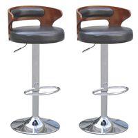 vidaXL Barski stolček 2 kosa okvir iz lesa umetno usnje črne barve