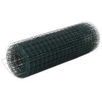 vidaXL Žična mreža za ograjo jeklo s PVC oblogo 25x0,5 m zelena