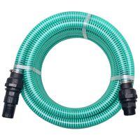 vidaXL Sesalna cev z nastavki 10 m 22 mm zelene barve