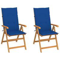 vidaXL Vrtni stoli 2 kosa s kraljevo modrimi blazinami trdna tikovina