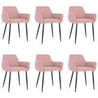 vidaXL Jedilni stoli 6 kosov roza žamet