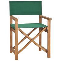 vidaXL Režiserski stol trdna tikovina zelen