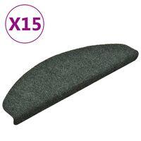 vidaXL Samolepilne preproge za stopnice 15 kosov zelene 65x21x4 cm
