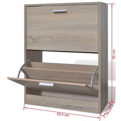 Lesena omarica za čevlje z 2 predelkoma videz hrasta