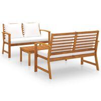 vidaXL Vrtna sedežna garnitura z blazinami 3-delna trden akacijev les