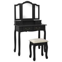 vidaXL Mizica za ličenje s stolčkom črna 80x69x141 cm les pavlovnije
