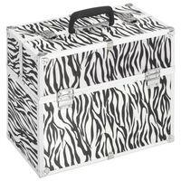 vidaXL Kovček za ličila 37x24x35 cm zebrast aluminij
