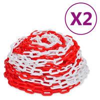 vidaXL Opozorilne verige 2 kosa rdeče in bele plastika 30 m