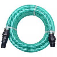 vidaXL Sesalna cev z nastavki 4 m 22 mm zelene barve