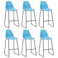 vidaXL Barski stoli 6 kosov modra plastika