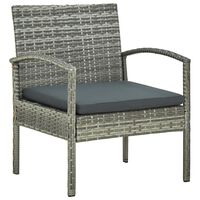 vidaXL Vrtni stol z blazino poli ratan siv