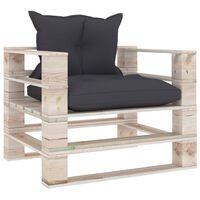 vidaXL Vrtni kavč iz palet z antracitnimi blazinami borovina