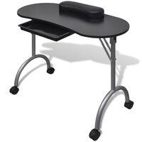 Črna zložljiva mizica za manikuro nohtov s kolesci