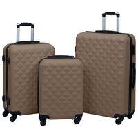 vidaXL Trdi potovalni kovčki 3 kosi rjavi ABS