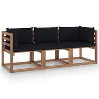 vidaXL Vrtni kavč trosed iz palet s črnimi blazinami borovina