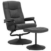 vidaXL Fotelj s stolčkom za noge temno sivo blago