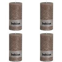Bolsius Rustikalne stebričaste sveče 200x100 mm taupe 4 kosi
