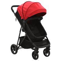 vidaXL Otroški voziček 2 v 1 rdeč in črn jeklo