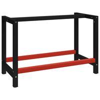 vidaXL Kovinski okvir za delovno mizo 120x57x79 cm črn in rdeč
