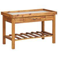 vidaXL Vrtna delovna miza s površino iz cinka trden akacijev les