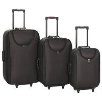 vidaXL Mehki potovalni kovčki 3 kosi rjavi oksford blago