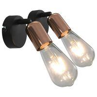 vidaXL Stenske svetilke 2 kosa črne in bakrene E27