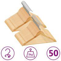 vidaXL Obešalniki 50 kosov nedrseči iz trdega lesa