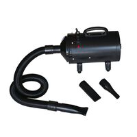 vidaXL Sušilnik fen za pse s 3 šobami črn 2400 W