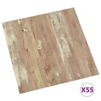 vidaXL Samolepilne talne plošče 55 kosov PVC 5,11 m² rjave