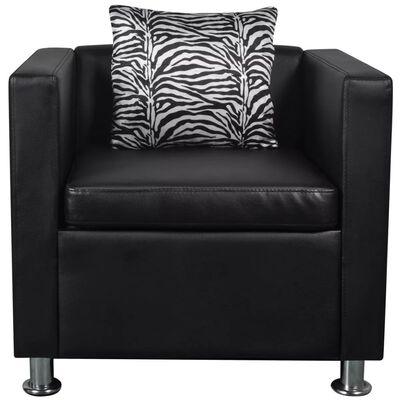 vidaXL Komplet kavčev um. usnje trosed, dvosed in naslanjač črne barve