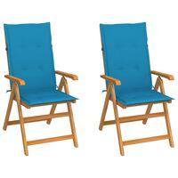 vidaXL Vrtni stoli 2 kosa z modrimi blazinami trdna tikovina