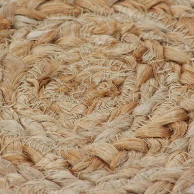 vidaXL Preproga pletena iz jute 120 cm okrogla