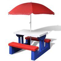 vidaXL Otroška piknik miza s klopmi in senčnikom večbarvna