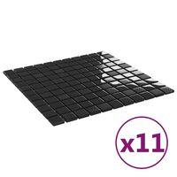 vidaXL Samolepilne mozaik ploščice 11 kosov svetleče črne 30x30 cm