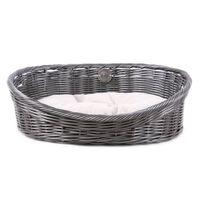 D&D Rustikalna postelja za hišne ljubljenčke z blazino L ratan siva