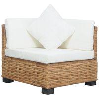 vidaXL Kotni kavč z blazinami naravni ratan