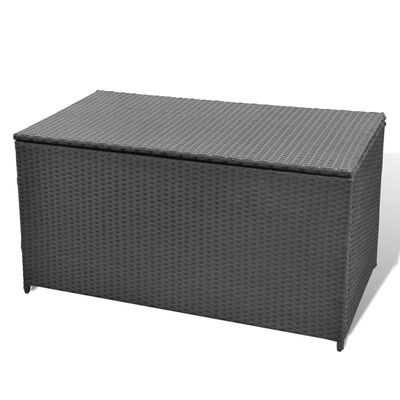 vidaXL Vrtna škatla črna 120x50x60 cm poli ratan