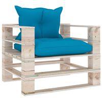 vidaXL Vrtni kavč iz palet z modrimi blazinami borovina