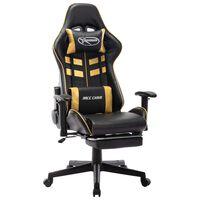 vidaXL Gaming stol z oporo za noge črno in zlato umetno usnje