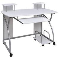 Mobilna računalniška miza z izvlečno polico Beli zaključek