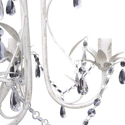 vidaXL Lestenec s kristalnimi obeski 4 kosi elegantne bele barve