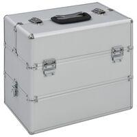 vidaXL Kovček za ličila 37x24x35 cm srebrn aluminij