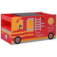 vidaXL Komplet otroške mize in stolov 3-delni gasilski tovornjak les