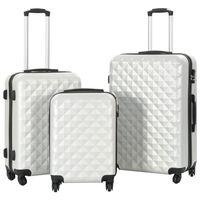 vidaXL Trdi potovalni kovčki 3 kosi svetlo srebrni ABS
