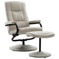 vidaXL Fotelj s stolčkom za noge krem blago