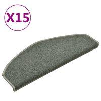 vidaXL Preproge za stopnice 15 kosov temno zelene 65x24x4 cm