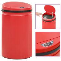 vidaXL Avtomatski smetnjak senzorski 40 L karbonsko jeklo rdeč