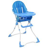 vidaXL Visok otroški stol za hranjenje moder in bel